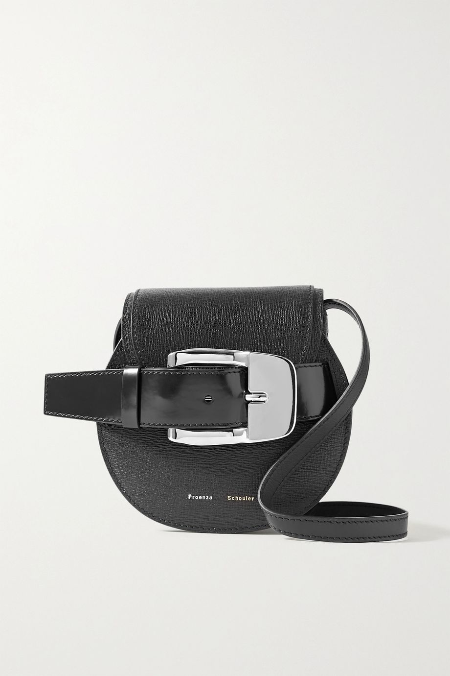 Proenza Schouler Buckle-embellished textured and patent-leather shoulder bag
