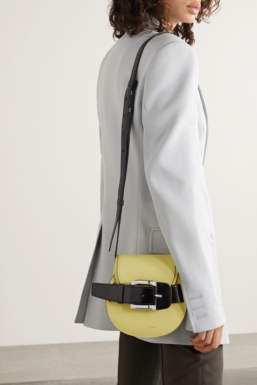 Proenza Schouler Buckle-embellished textured and patent-leather shoulder bag