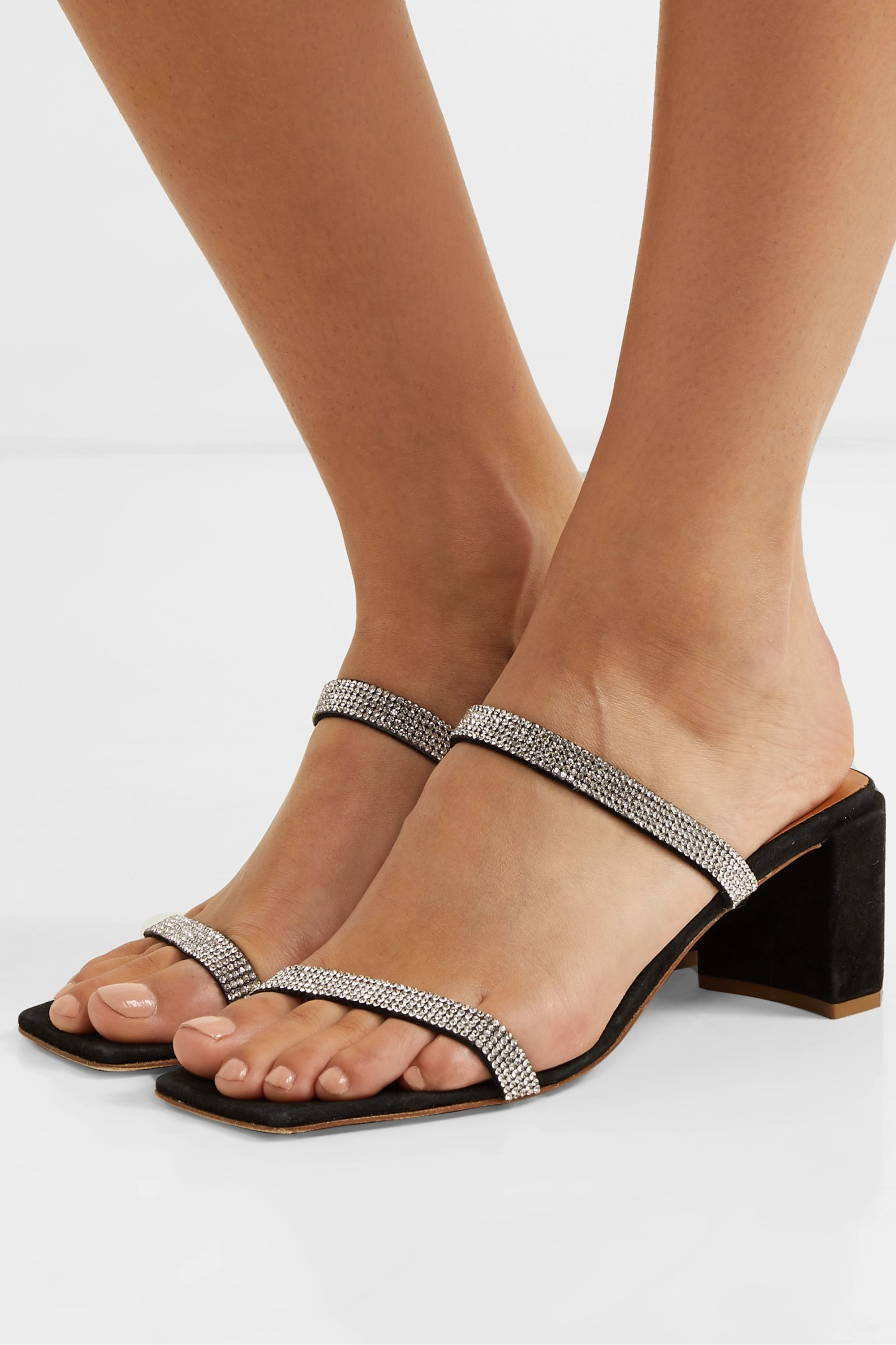 BY FAR Tanya crystal-embellished suede mules