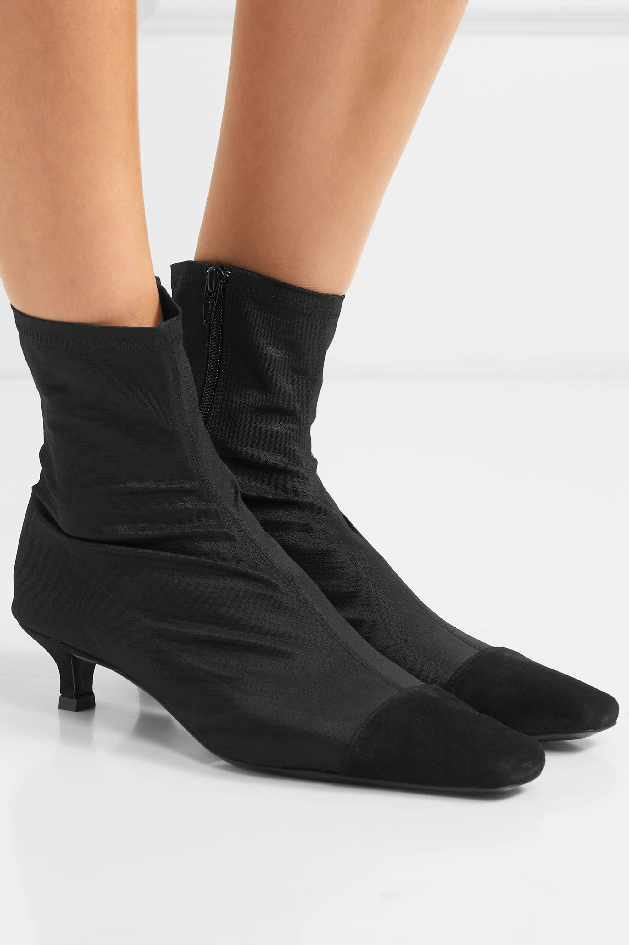 BY FAR Karl suede-trimmed stretch-satin sock boots