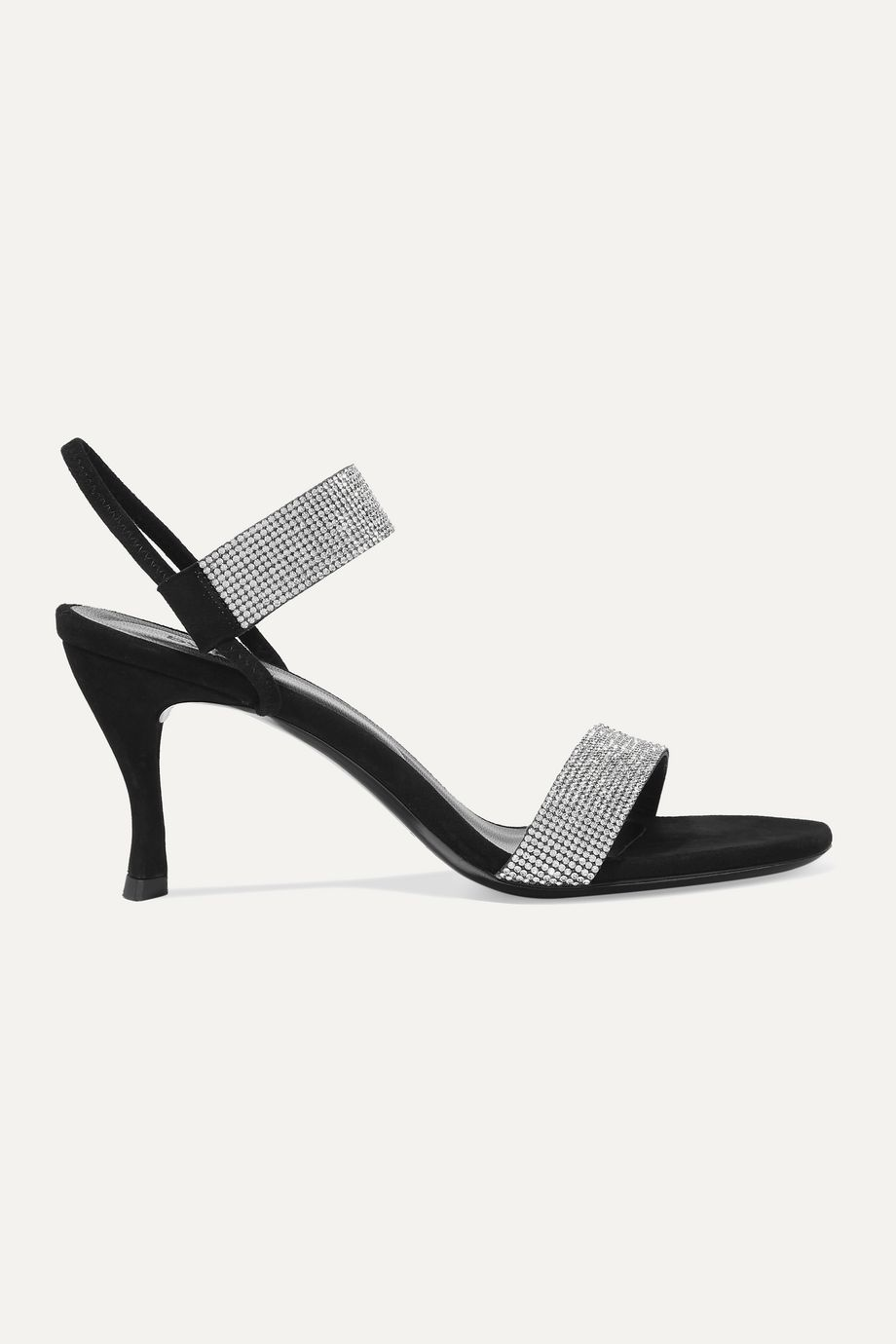 BY FAR Mariah crystal-embellished suede sandals