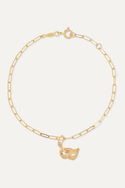 + NET SUSTAIN Kitten Mask 14-karat gold bracelet