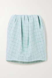 Nina Ricci Gathered checked wool-tweed mini skirt