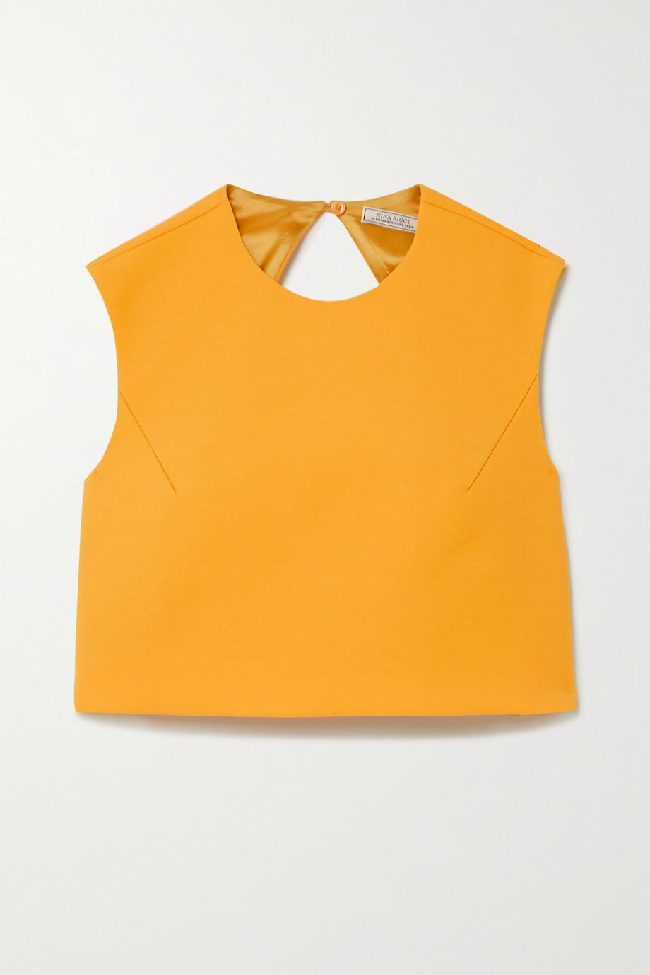 Nina Ricci Cropped open-back wool-blend top