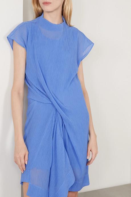 Draped plissé cotton and silk-blend dress