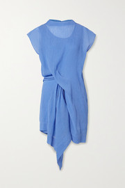 Nina Ricci Draped plissé cotton and silk-blend dress