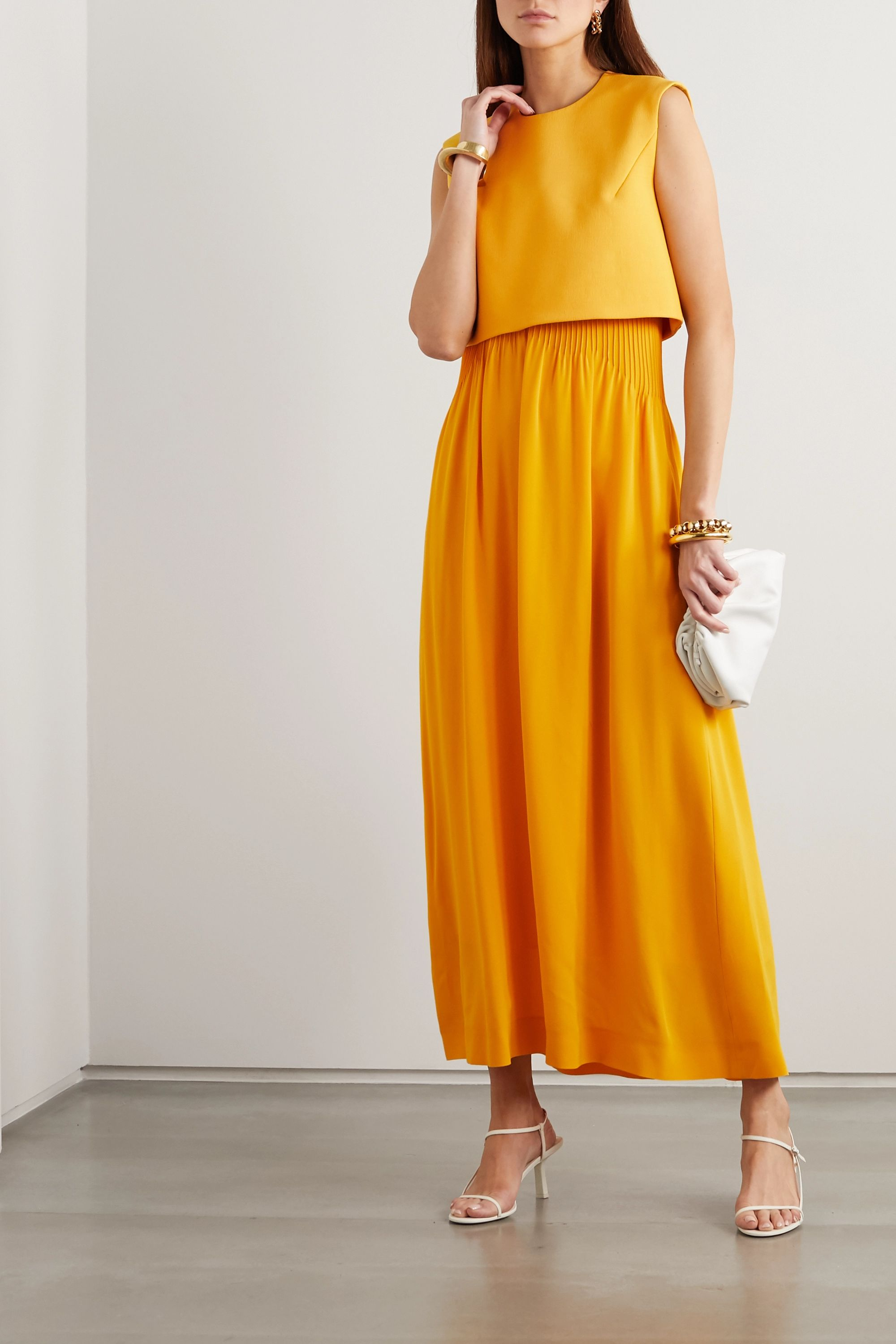 Nina Ricci Strapless pintucked silk-crepe maxi dress
