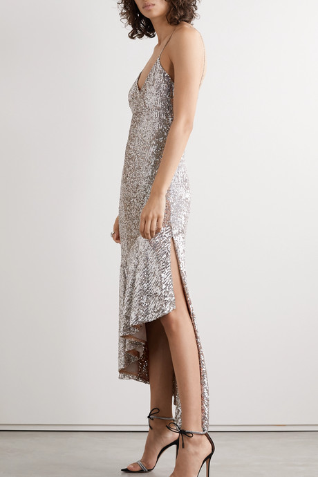 Asymmetric sequined tulle midi dress