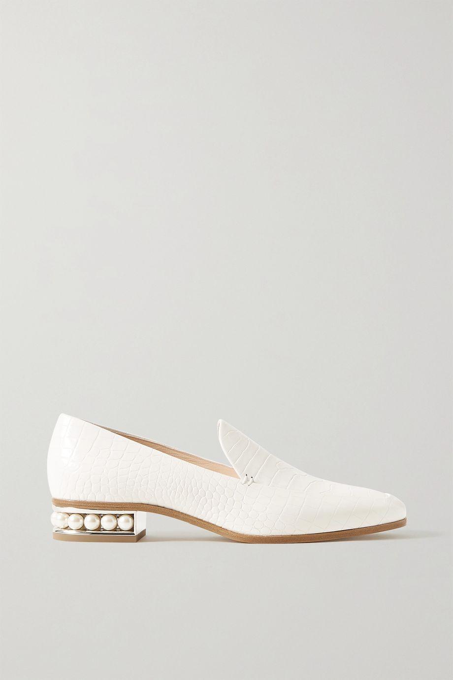 Nicholas Kirkwood Casati faux pearl-embellished croc-effect leather loafers