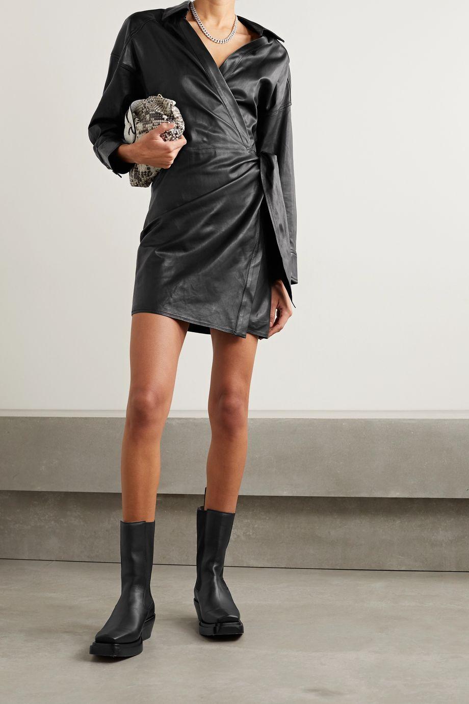 IRO Perrine leather wrap dress