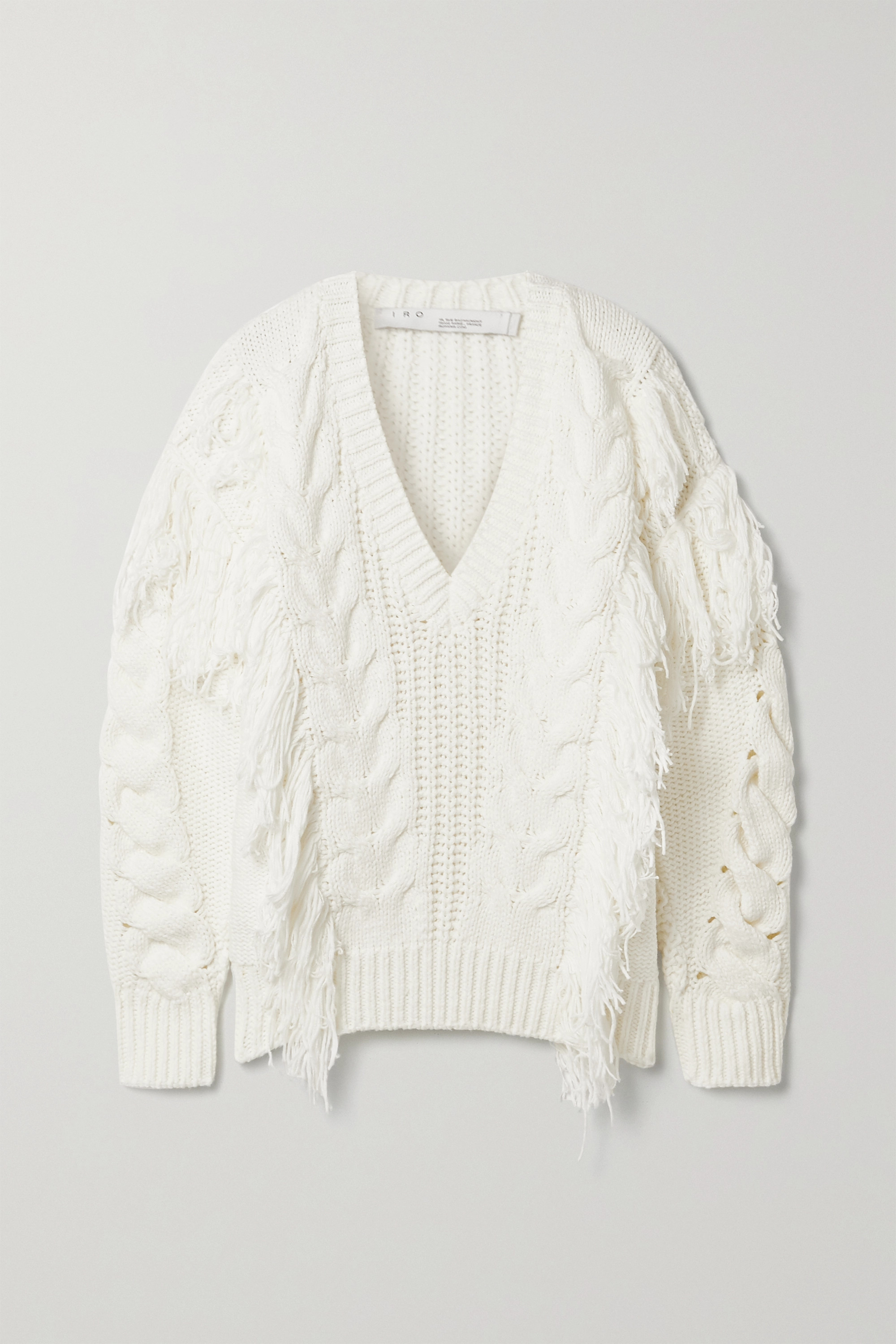 Wynd fringed cable knit cotton blend sweater