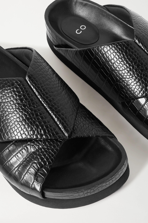 Co Croc-effect leather slides