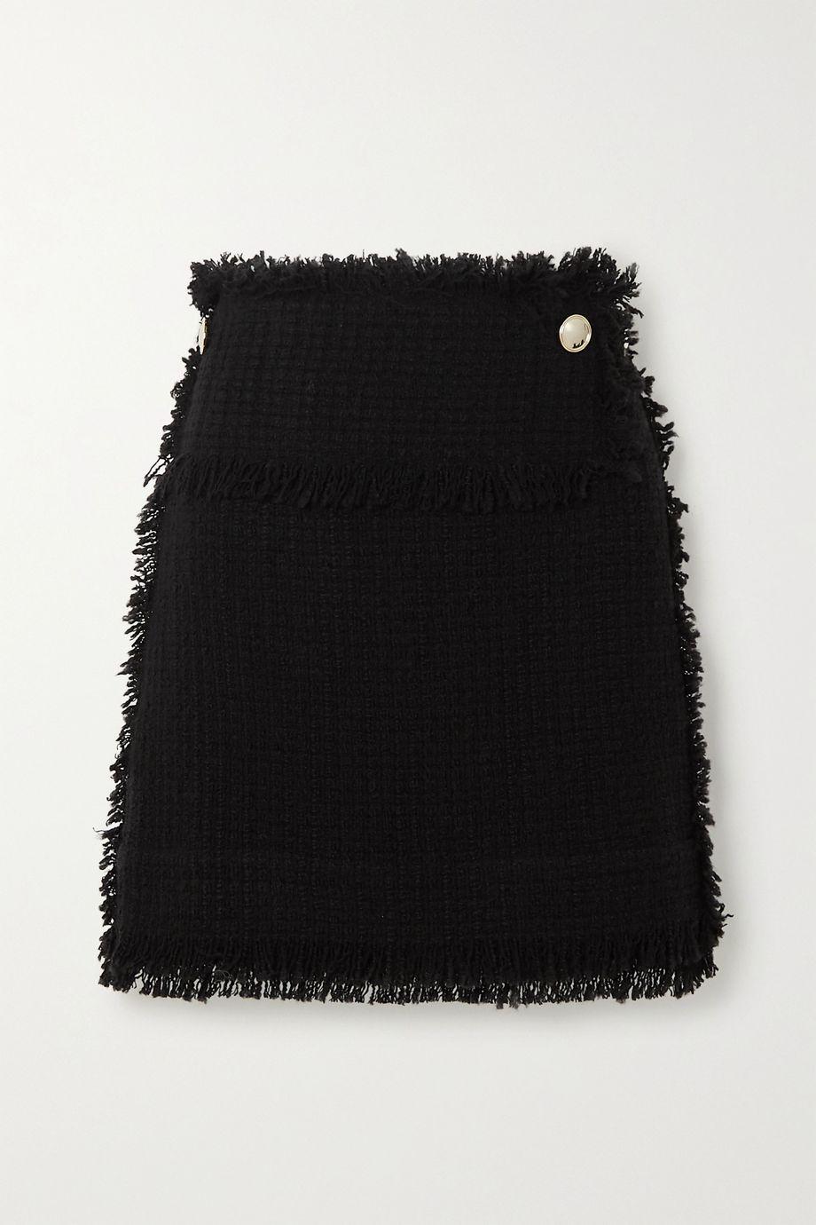 IRO Ario frayed boucle mini skirt,Black