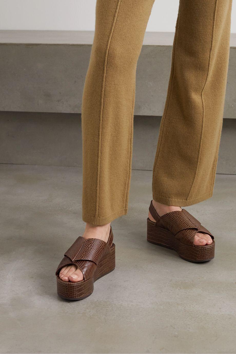 Co Croc-effect leather platform slingback sandals