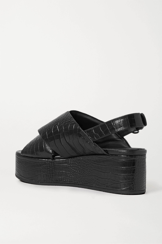Co Croc-effect leather platform sandals