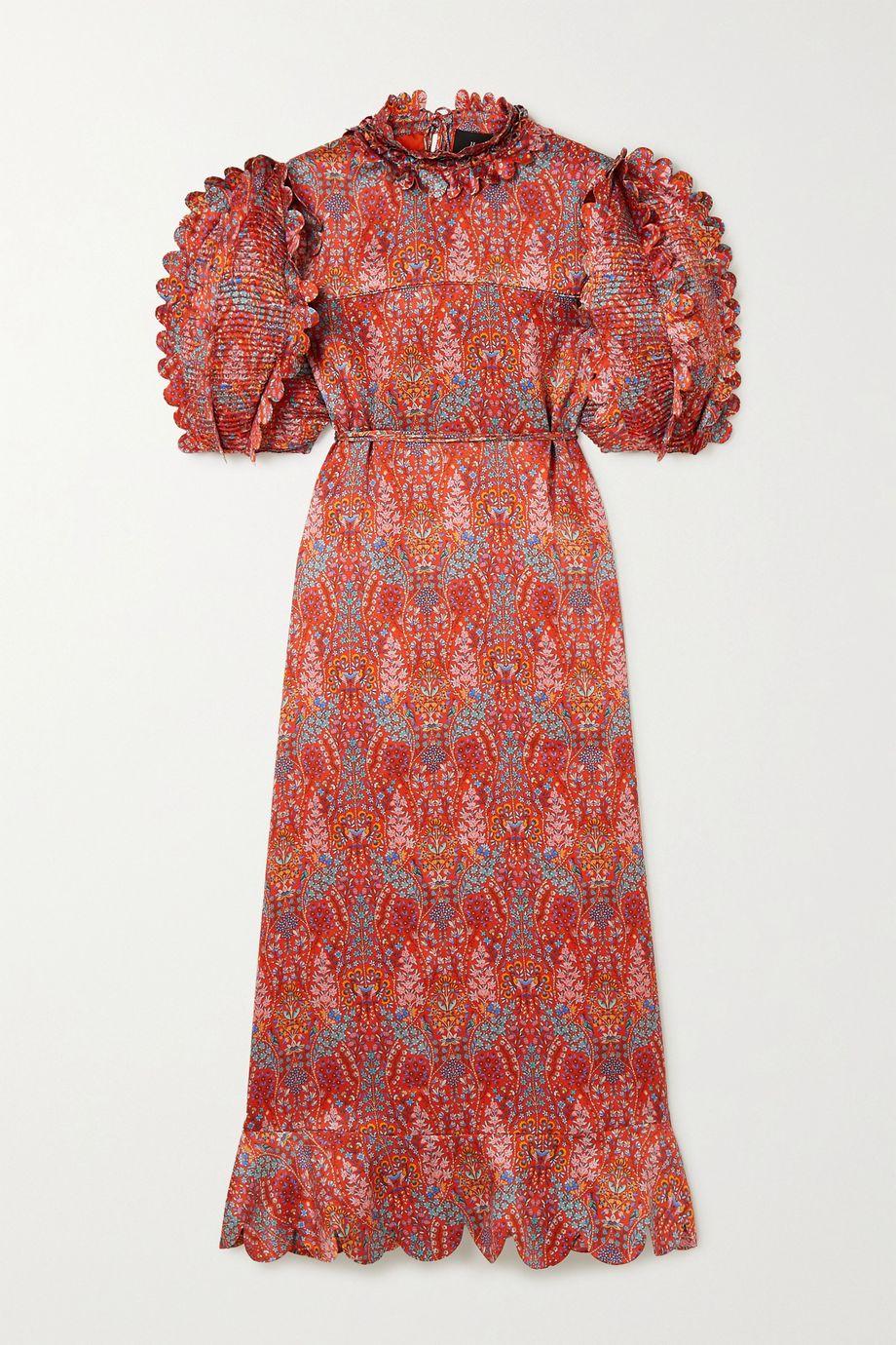 Horror Vacui Elinor scalloped floral-print silk-satin midi dress
