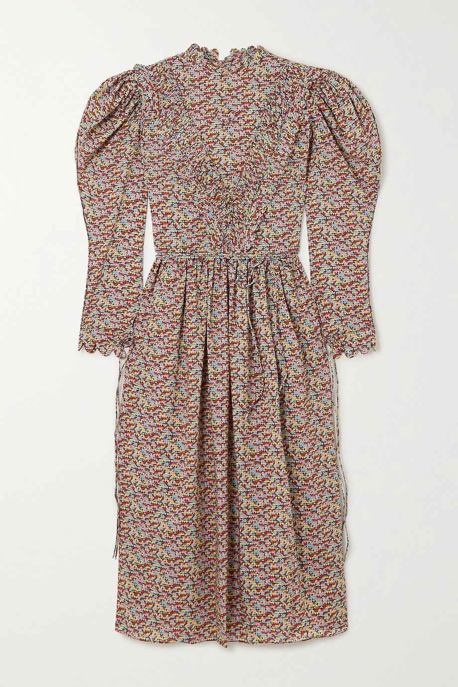 Horror Vacui Margarethe scalloped printed cotton-poplin midi dress