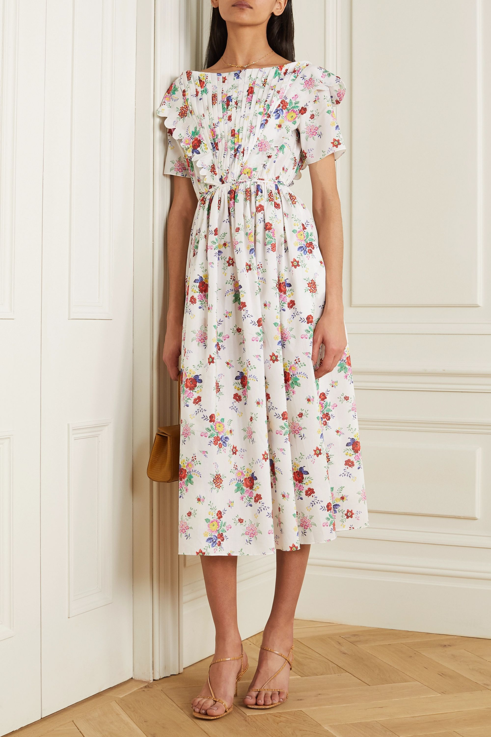 Horror Vacui Flabella pintucked floral-print cotton-voile midi dress