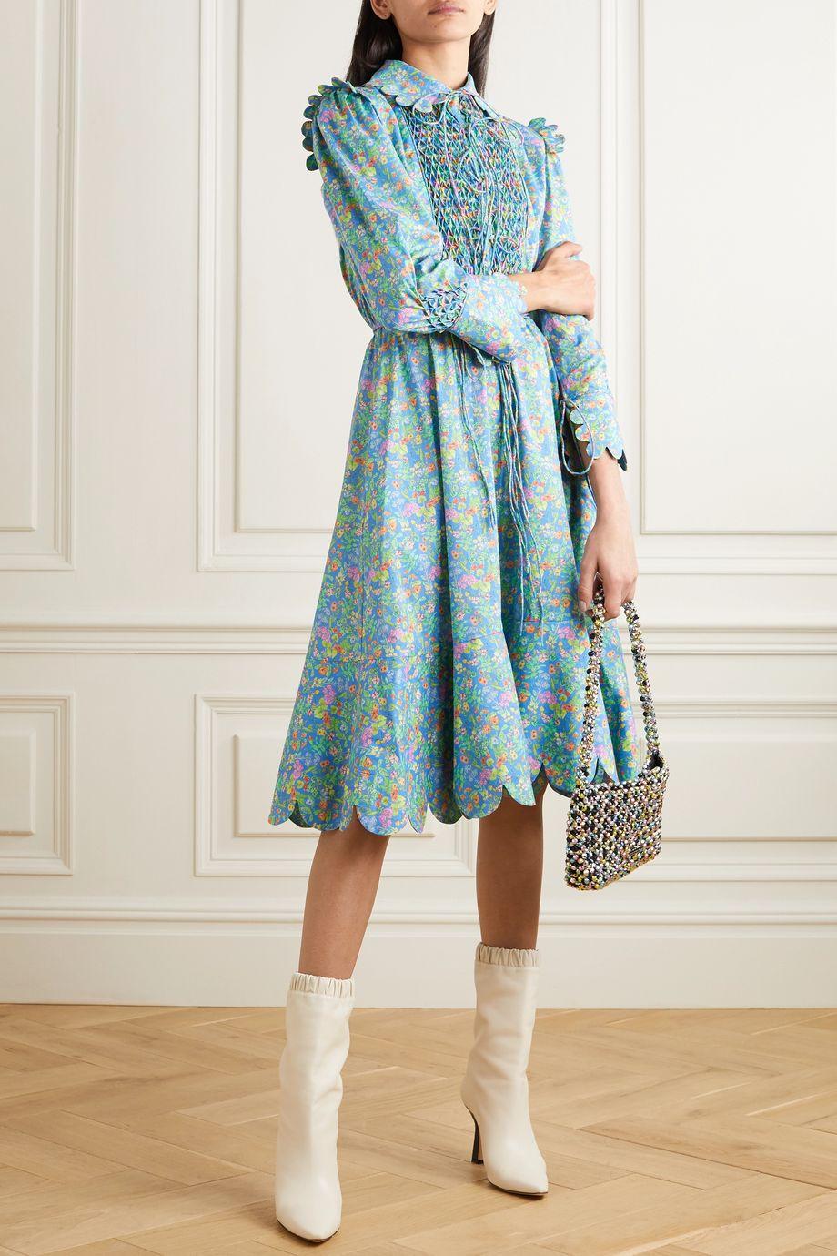 Horror Vacui Electra lace-up scalloped floral-print cotton-poplin midi dress