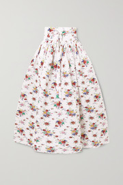 Horror Vacui Toga belted pintucked floral-print cotton-voile midi skirt