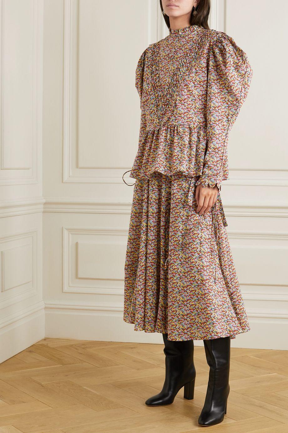 Horror Vacui Violet scalloped printed cotton-poplin blouse