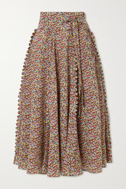 Horror Vacui James scalloped printed cotton-poplin midi skirt