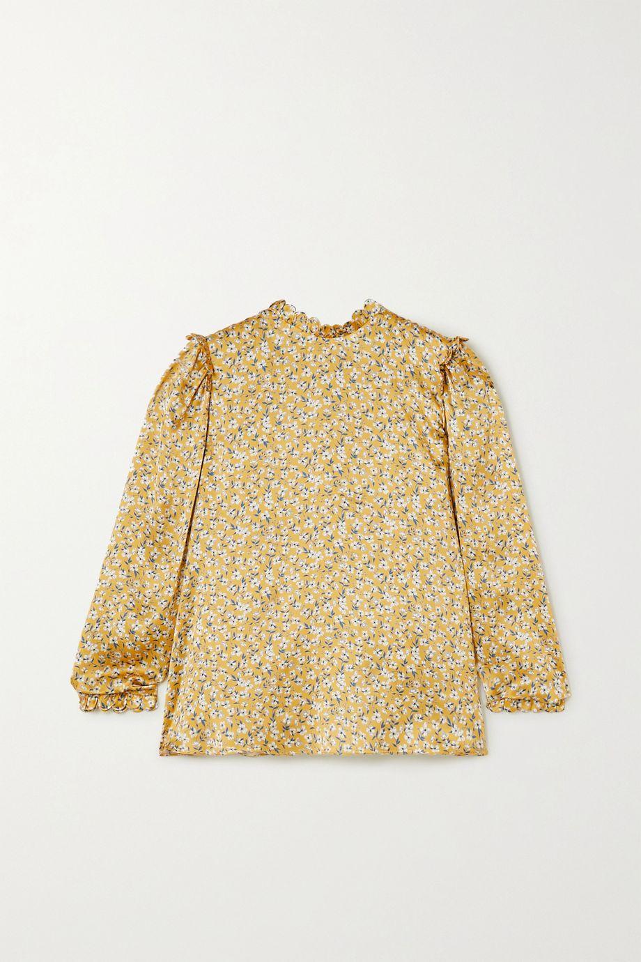 Horror Vacui Vestia scalloped floral-print silk-satin blouse