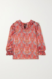 Horror Vacui Cleo lace-up scalloped floral-print silk blouse