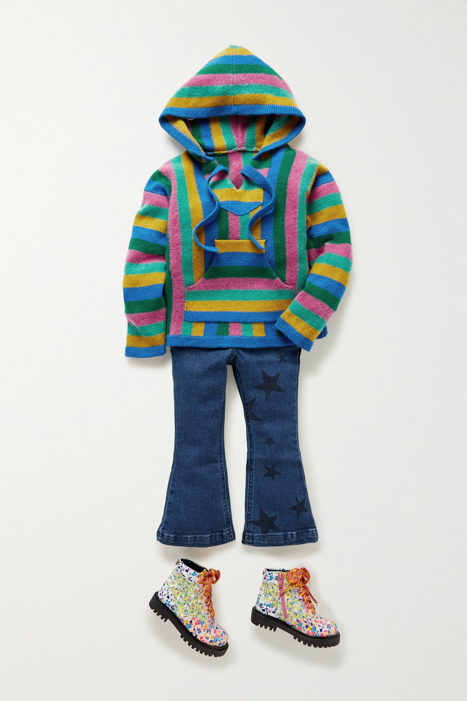 The Elder Statesman Kids Baja striped cashmere hoodie