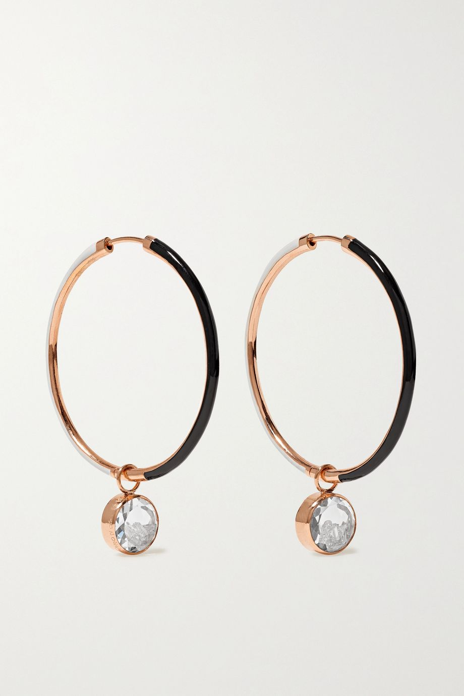 Moritz Glik 18-karat rose gold, enamel, sapphire crystal and diamond hoop earrings