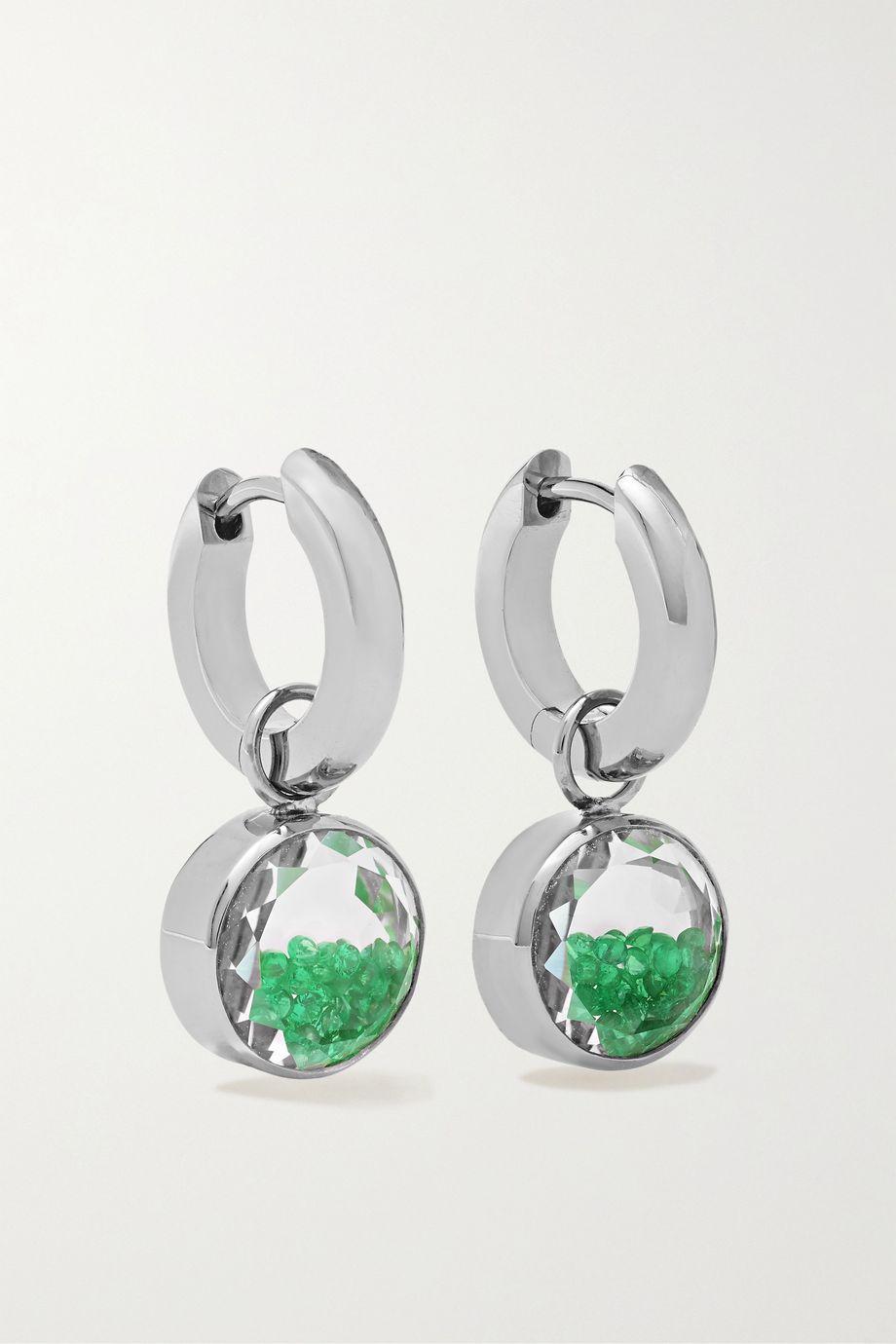 Moritz Glik 18-karat gray gold palladium, sapphire crystal and emerald earrings