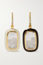 18-karat gold, enamel, sapphire crystal and diamond earrings