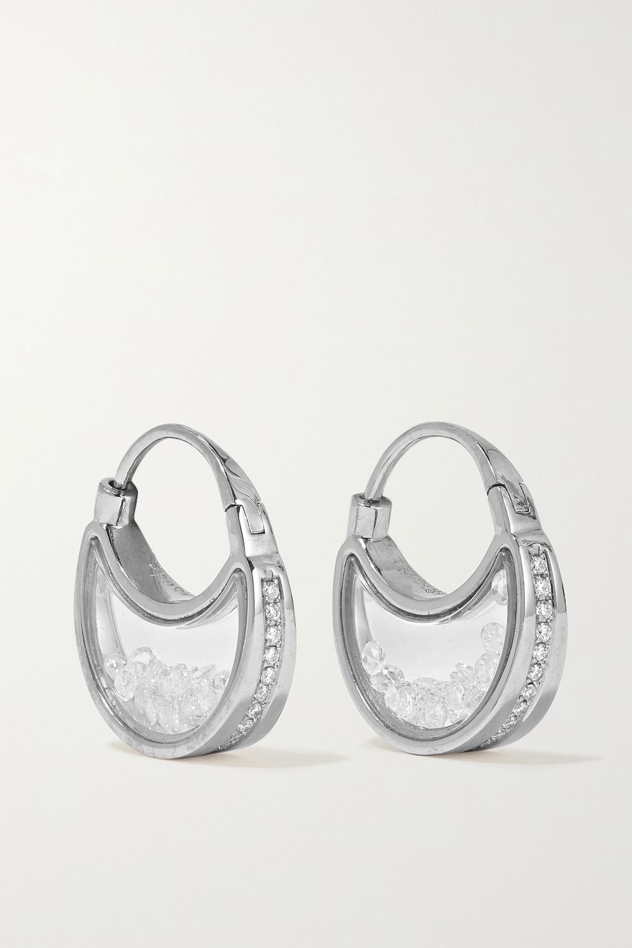 Moritz Glik 18-karat gray gold palladium, sapphire crystal and diamond earrings