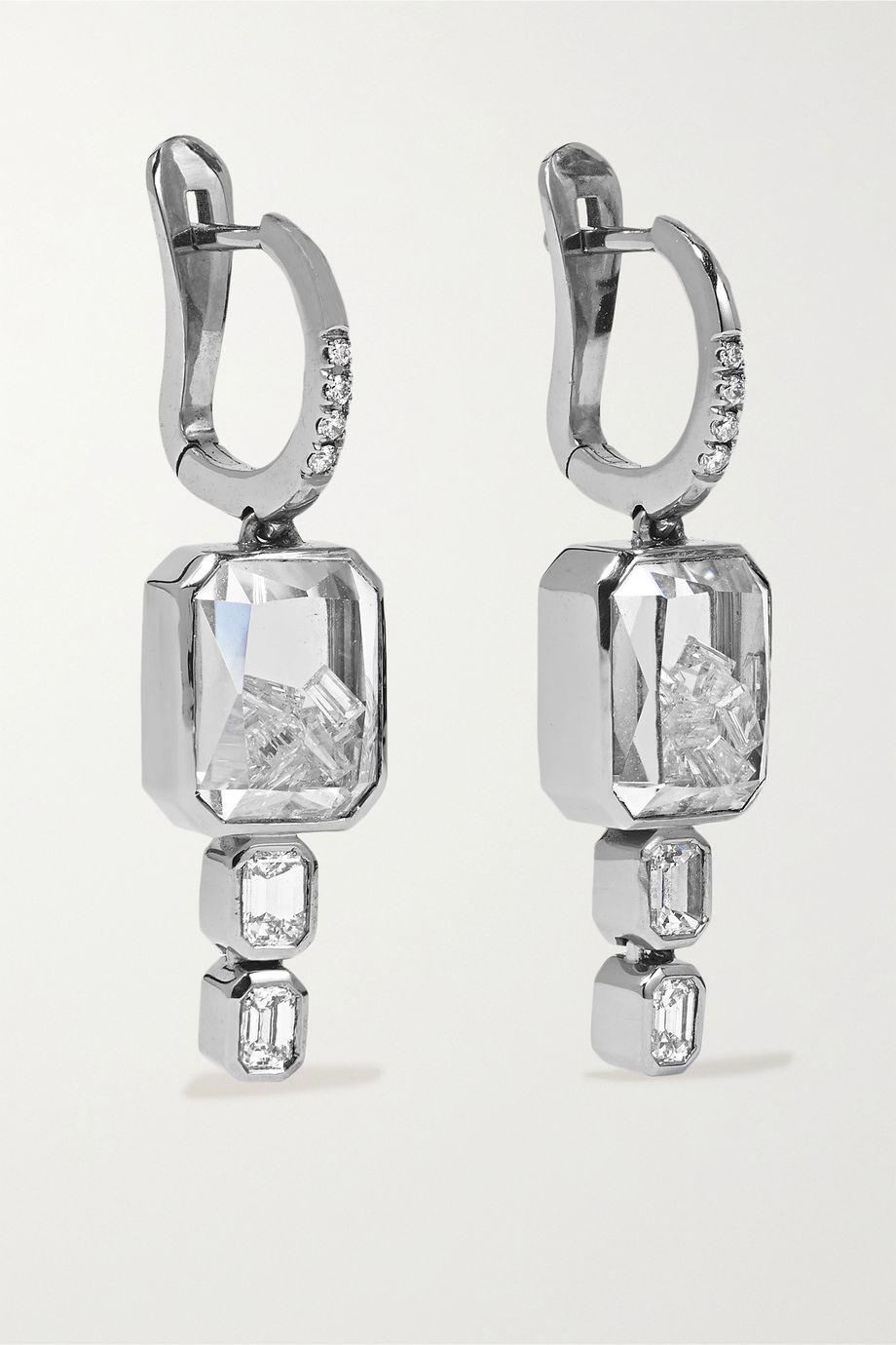 Moritz Glik 18-karat gray gold palladium, enamel, sapphire crystal and diamond earrings