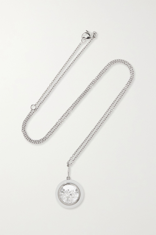 Moritz Glik 18-karat gray gold palladium, enamel, sapphire crystal and diamond necklace