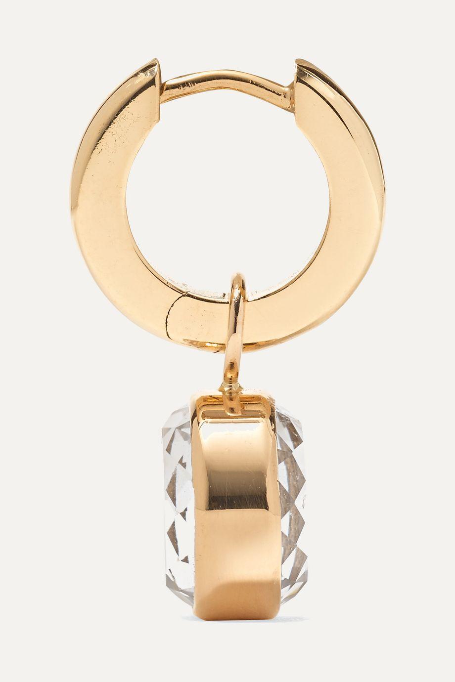 Moritz Glik 18-karat gold, sapphire crystal and diamond hoop earrings