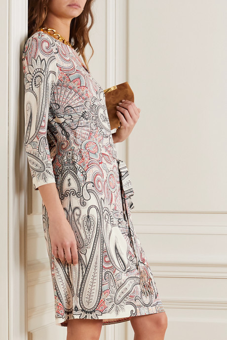 Belted paisley-print jersey dress
