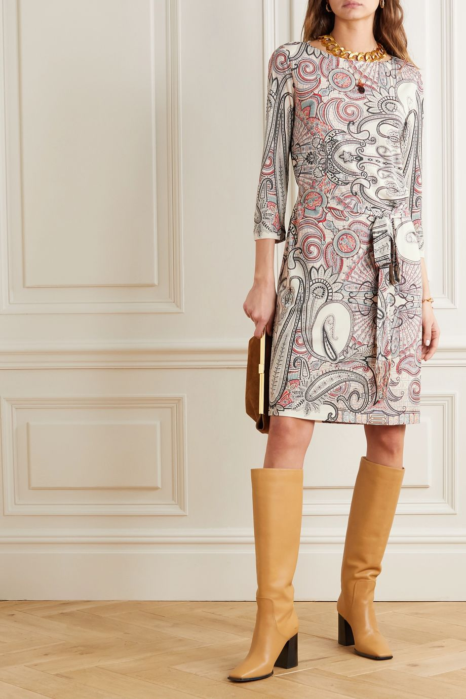 Etro Belted paisley-print jersey dress