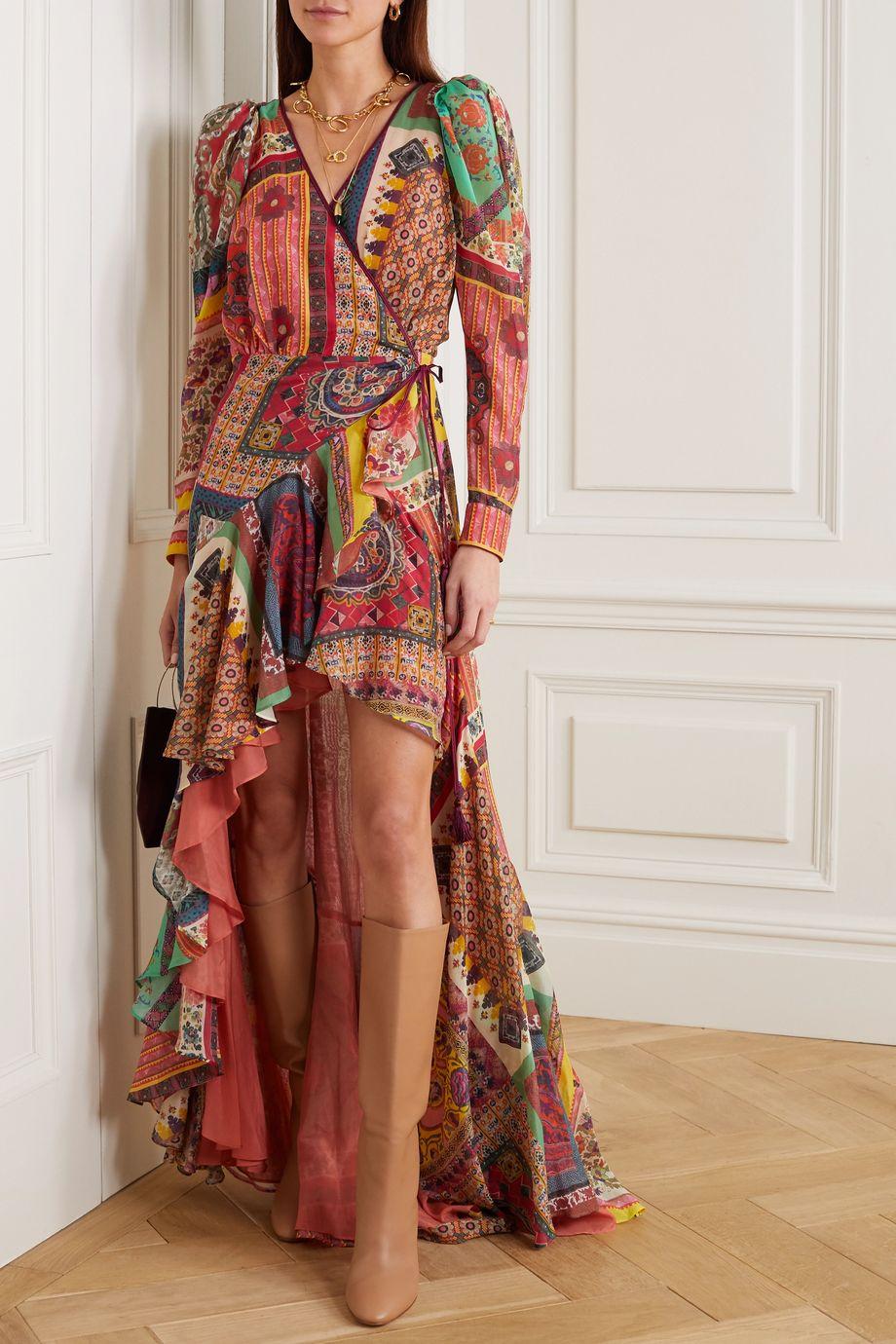 Etro Asymmetric ruffled printed cotton and silk-blend wrap dress