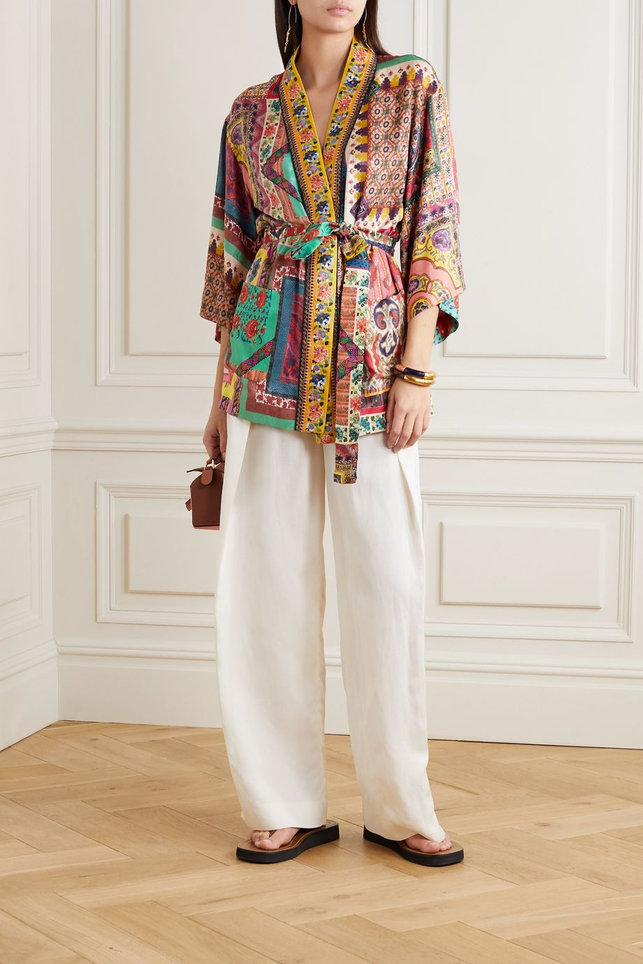 Etro Embroidered printed crepe de chine jacket
