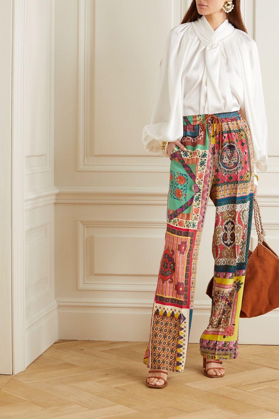 Etro Printed silk wide-leg track pants
