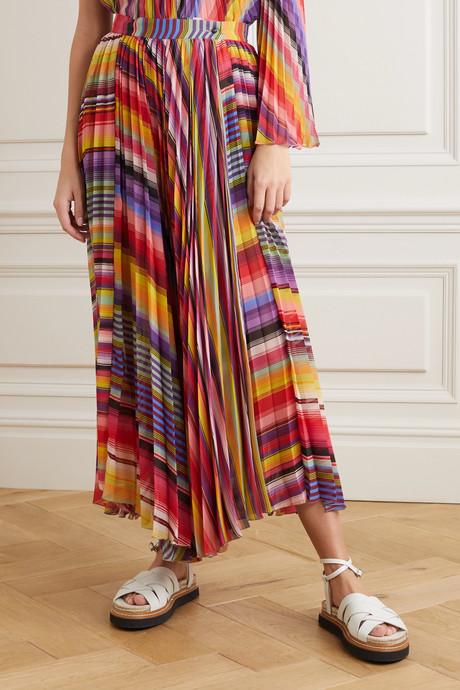 Pleated striped chiffon midi skirt