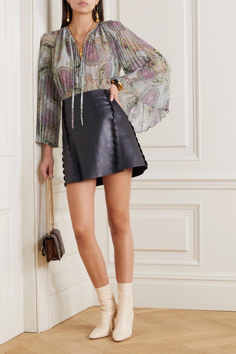 Etro Pleated paisley-print crepe de chine blouse
