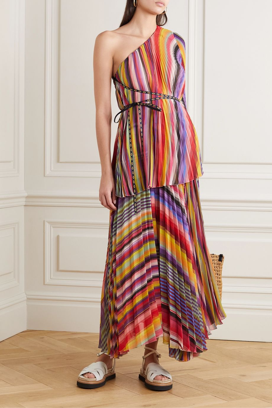Etro One-sleeve pleated jacquard-trimmed striped chiffon top