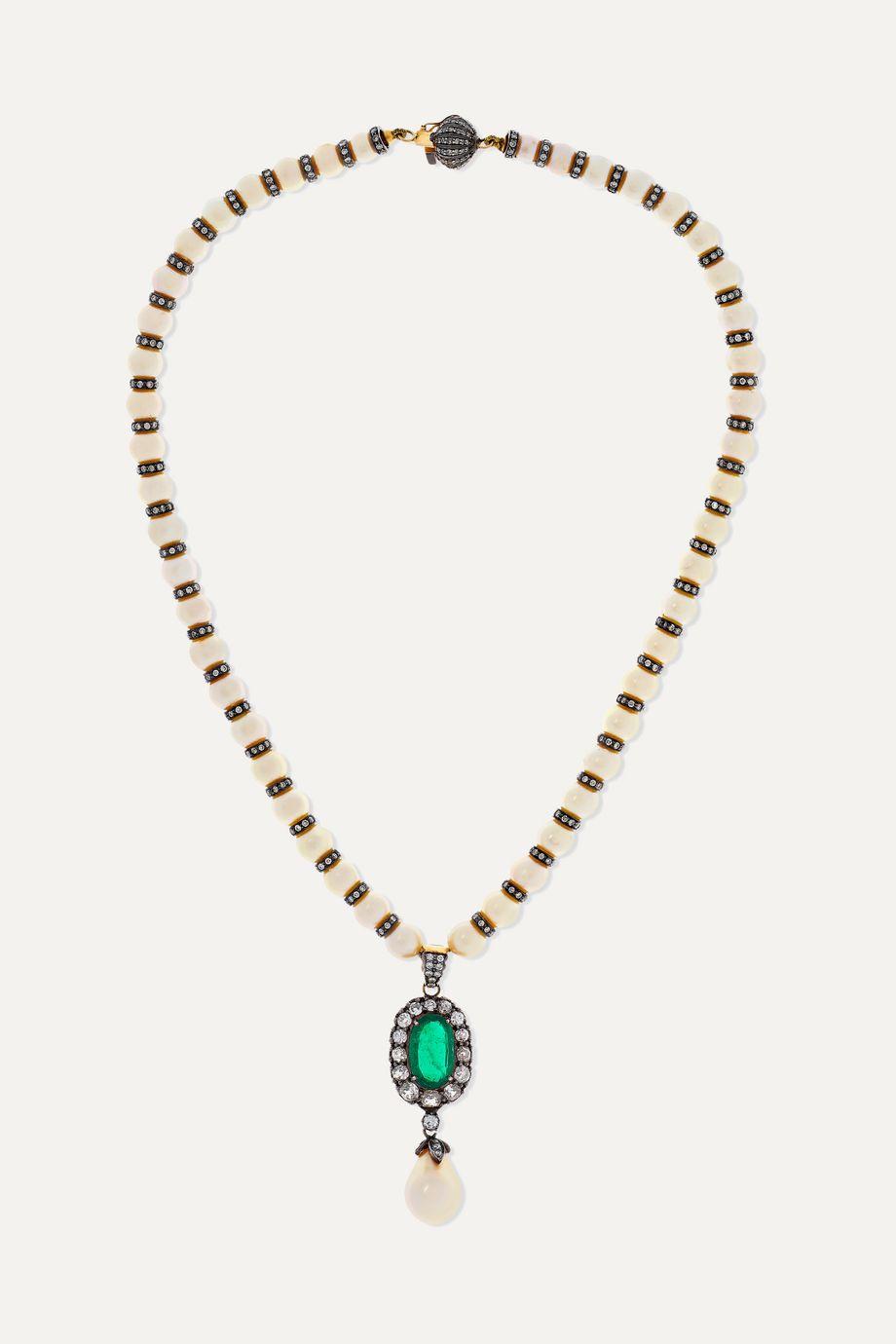 Amrapali Kette aus 18 Karat Gold mit rhodinierten Details und mehreren Steinen