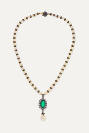 18-karat gold and rhodium-plated multi-stone necklace
