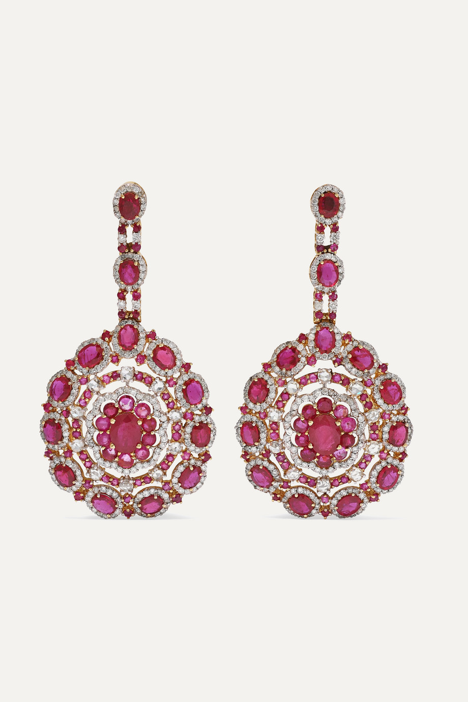Amrapali Ohrringe aus 18 Karat Roségold mit Rubinen und Diamanten