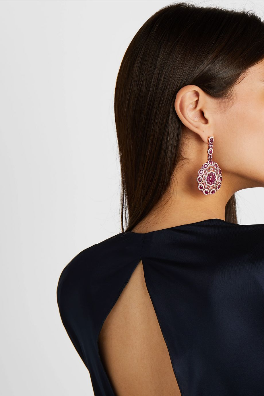 Amrapali 18-karat rose gold, ruby and diamond earrings