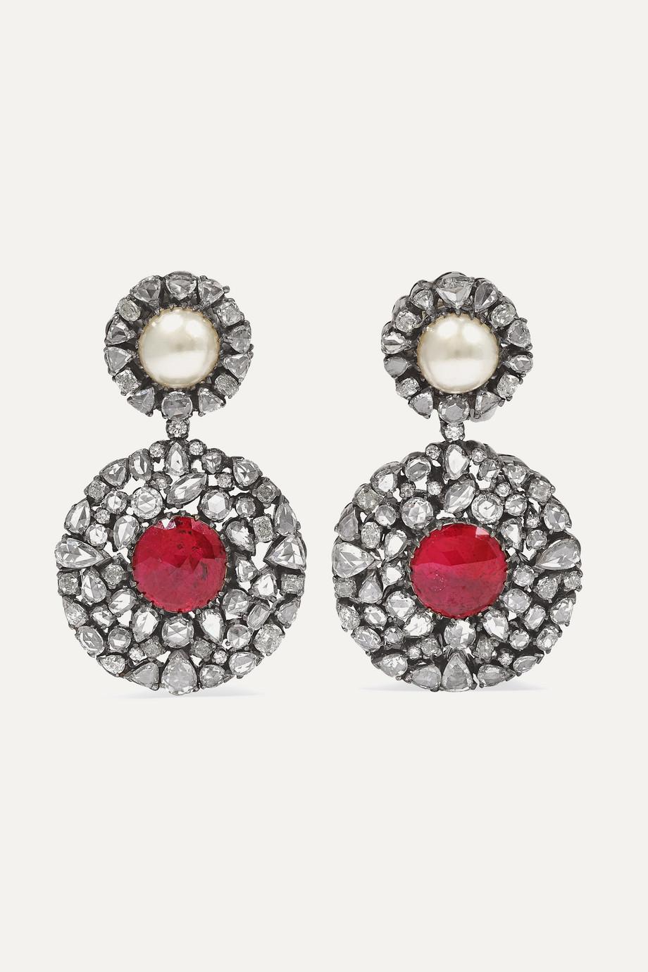 Amrapali Boucles d'oreilles en plaqué rhodium et pierres multiples