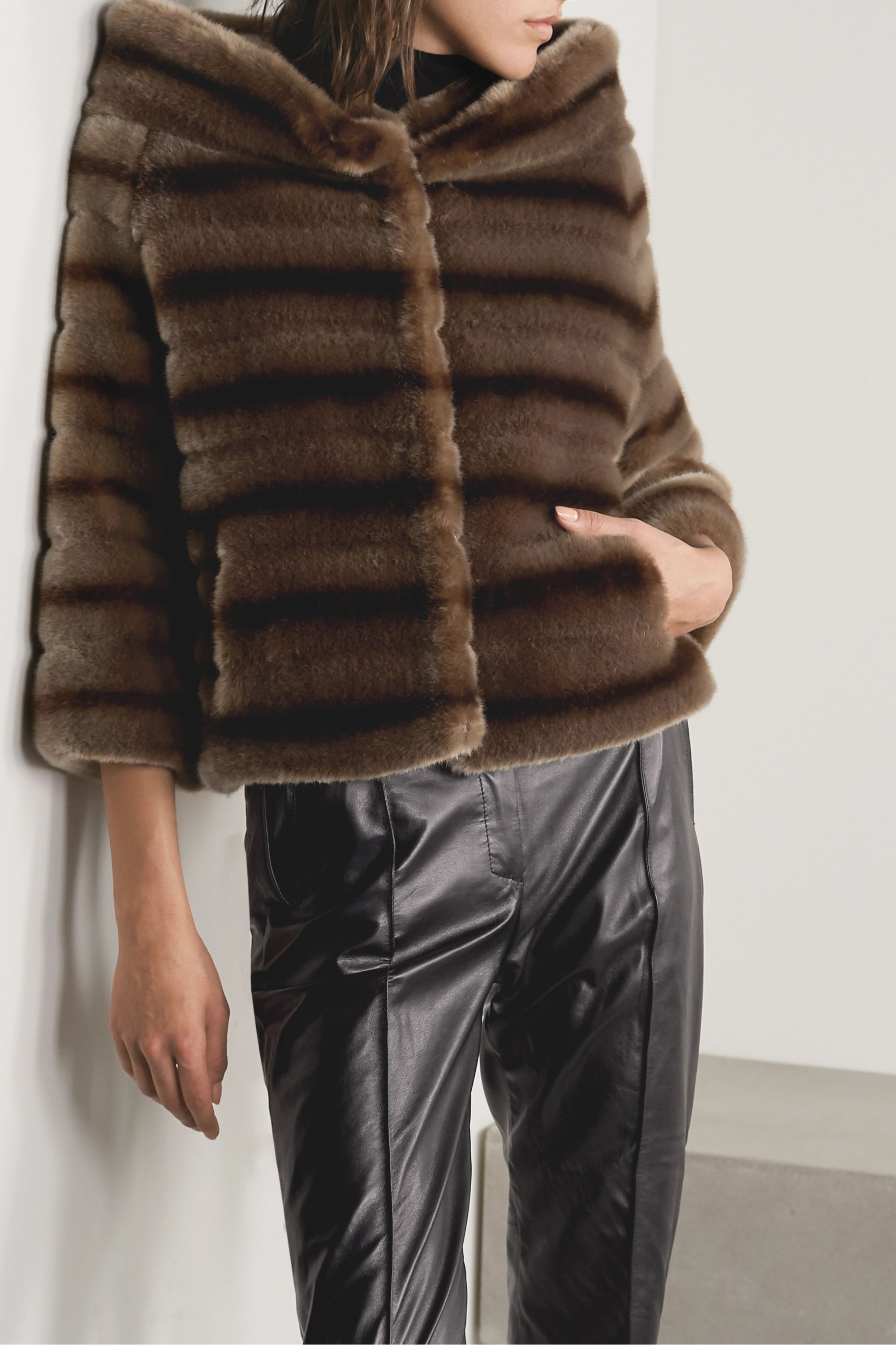 Faz Not Fur Swinger striped faux fur jacket